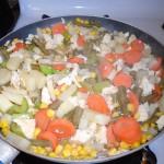 combine ingredients in frying pan