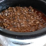 add the beans and onions to the crockpot