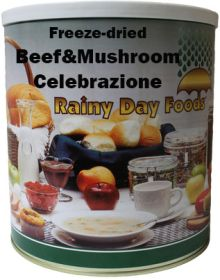 Rainy Day Foods freeze dried beef and mushroom celebrazione #10 can