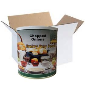Dehdyrated onions in #10 case from Rainy Day Foods
