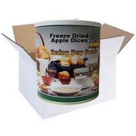 Freeze dried apple dices in a case of 6 #2.5 cans