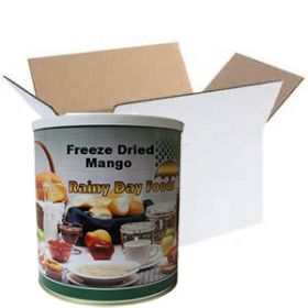 Freeze dried mango in a case of 6 #10 cans from Rainy Day Foods