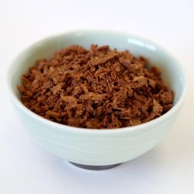imitation beef flavored bits in a super pail