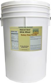 Natural hard White wheat in superpail bucket