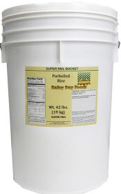 Par Boiled rice in a super pail for Rainy Day Foods 42 lbs.