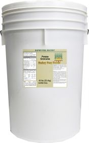 Dehydrated mashed potato granules in a 6 gallon super pail