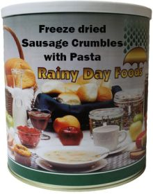 Rainy Day Foods freeze dried sausage crumbles with pasta #10 can