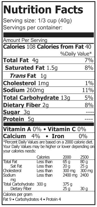 alfedo sauce nutrition