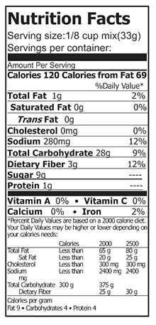nutrtion pams bread mix and flour blend