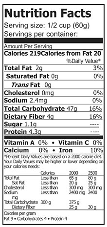nutrtion of sorghum flour gluten free