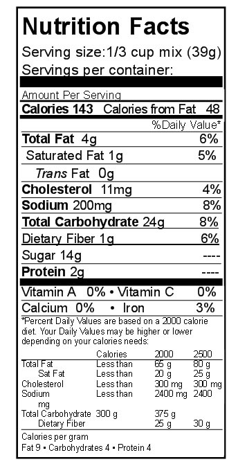 nutrition white bread mix