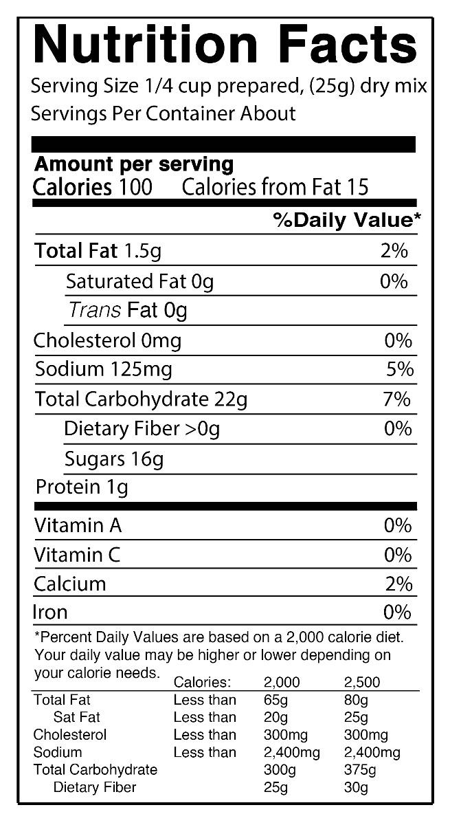 nutrition vanilla pudding